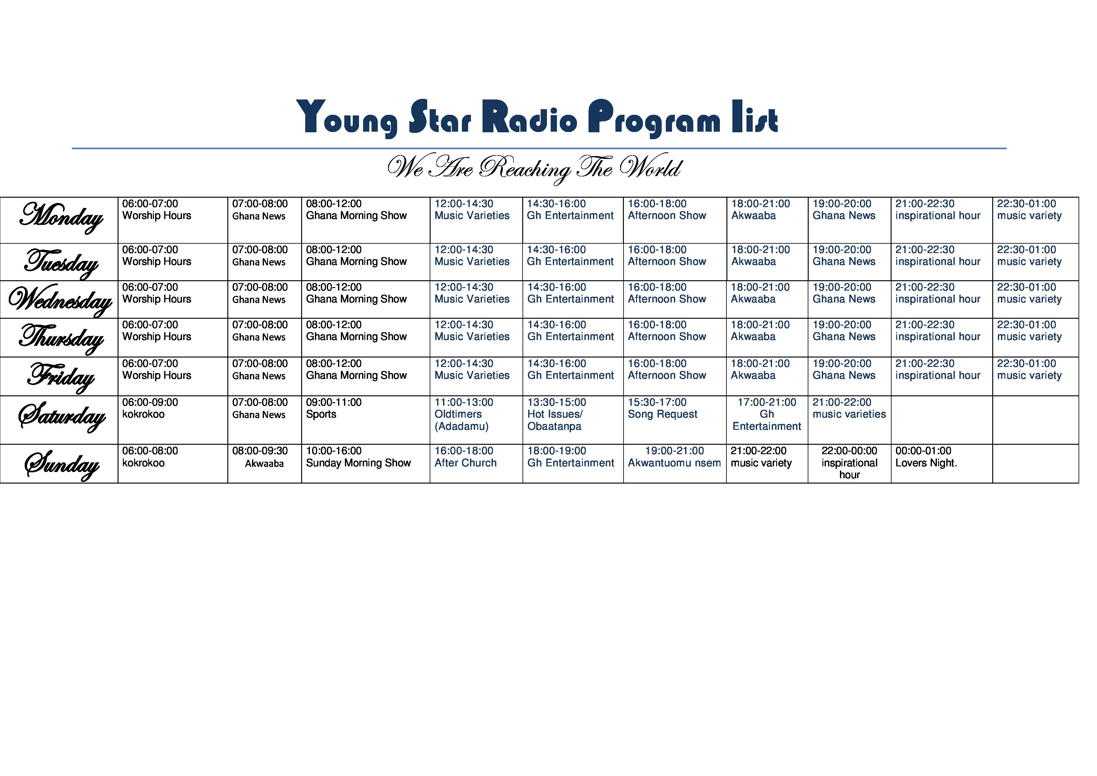 Young Star Radio Program list